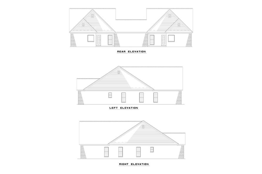 Home Plan Rear Elevation of this 6-Bedroom,1427 Sq Ft Plan -153-1646
