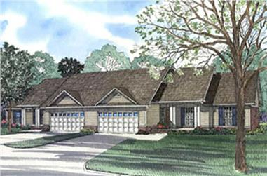 Duplex with 3 Bedrooms, 1525 Sq Ft Per Unit Home Plan - 153-1647 - Main Exterior