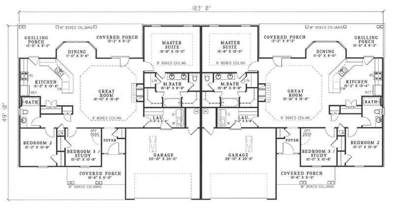 Multi Unit House Plan 153 1647 3 Bedrm 1525 Sq Ft Per