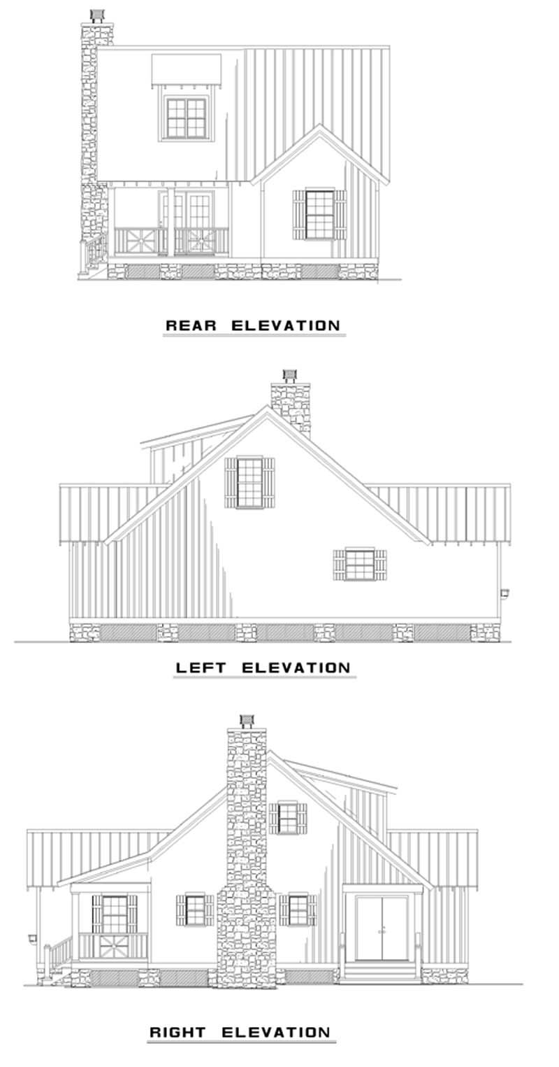 Rear Elevation Plan : Cabins traditional country house plans home design