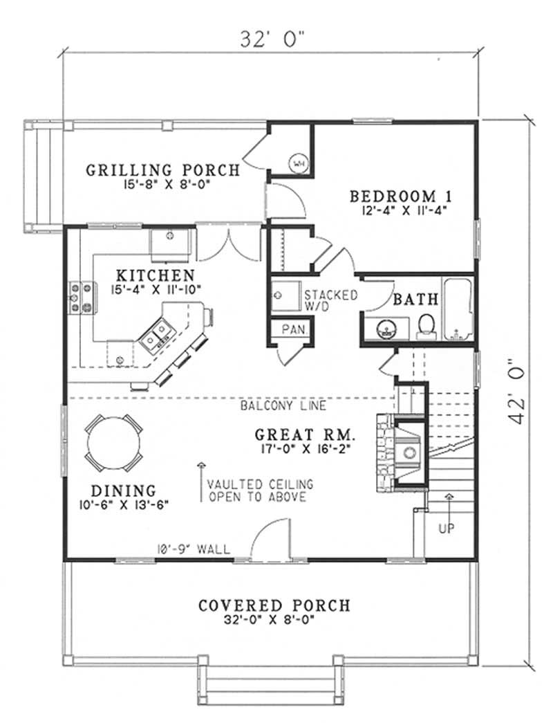 Small cottage country house plans home design 153 1649 for Country house floor plans