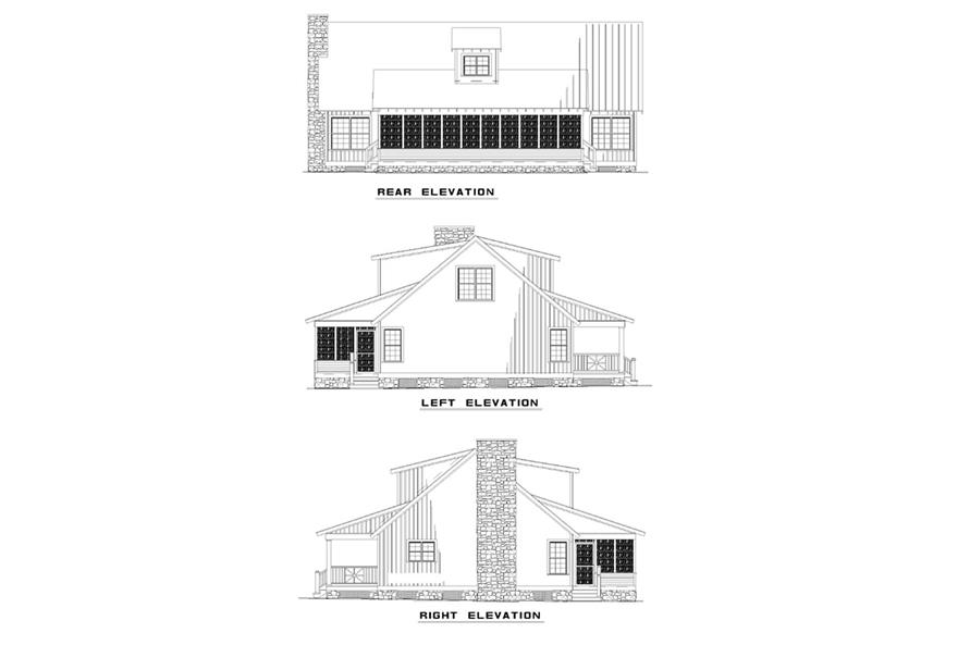 Home Plan Rear Elevation of this 4-Bedroom,1970 Sq Ft Plan -153-1650