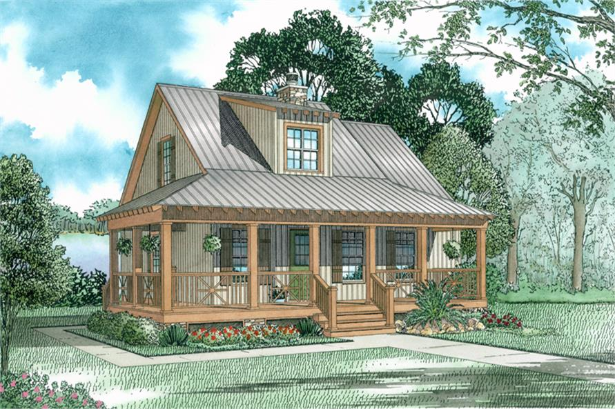 3-Bedroom, 1397 Sq Ft Country Home Plan - 153-1651 - Main Exterior