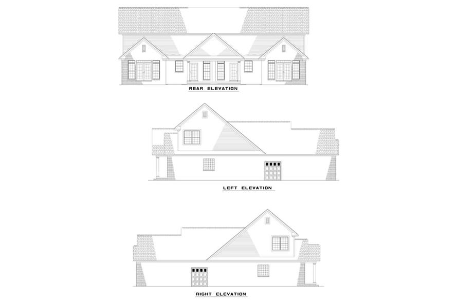 Home Plan Rear Elevation of this 6-Bedroom,1609 Sq Ft Plan -153-1652