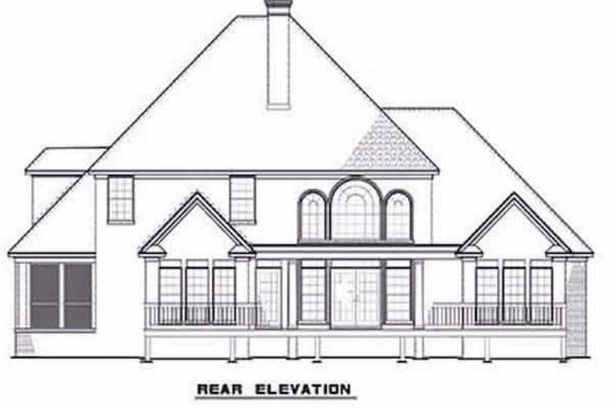 Home Plan Rear Elevation of this 3-Bedroom,3593 Sq Ft Plan -153-1654