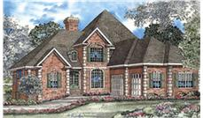 This image shows the front elevation for these Traditional House Plans.