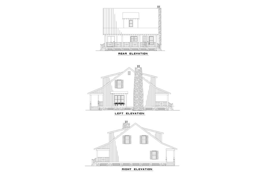 Home Plan Rear Elevation of this 3-Bedroom,1544 Sq Ft Plan -153-1656