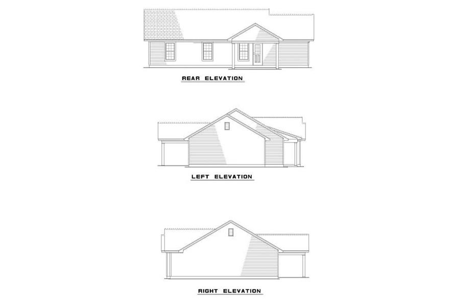 EXTERIOR ELEVATIONS of this 3-Bedroom,1075 Sq Ft Plan -1075