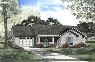 3-Bedroom, 1075 Sq Ft Country House Plan - 153-1657 - Front Exterior