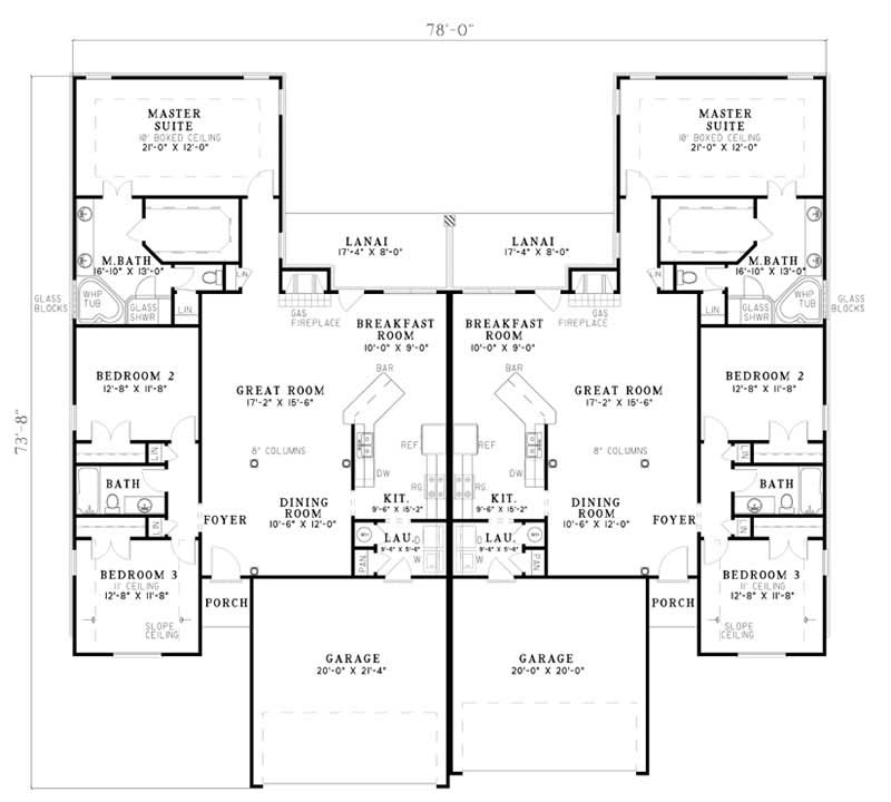Traditional multi unit house plans home design cable for Multi unit home plans