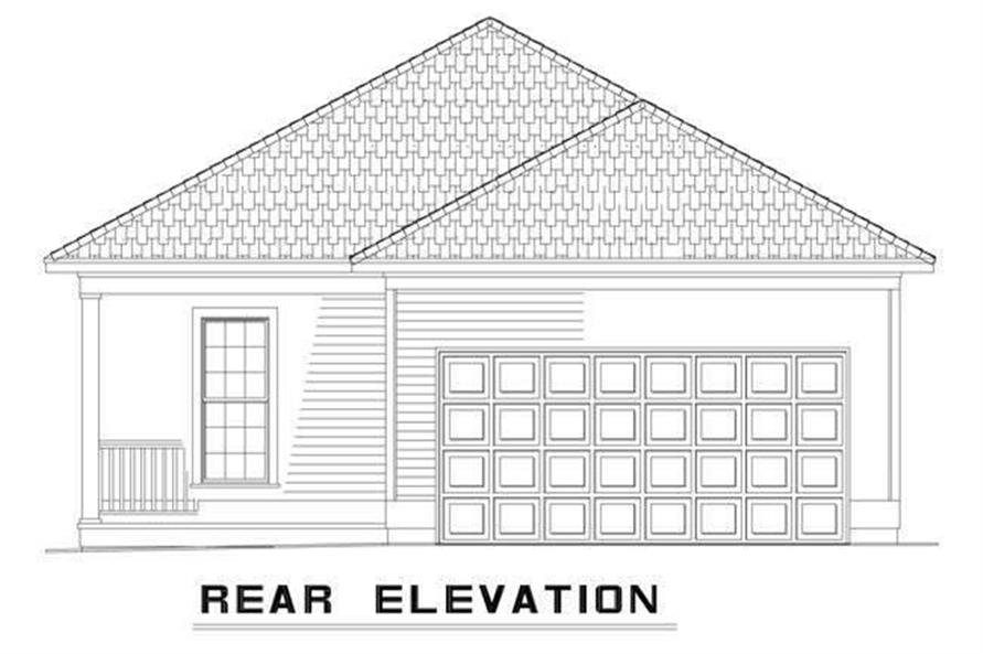 Home Plan Rear Elevation of this 2-Bedroom,1120 Sq Ft Plan -153-1663