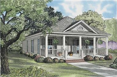 2-Bedroom, 1120 Sq Ft Country Bungalow Home Plan - 153-1663 - Main Exterior