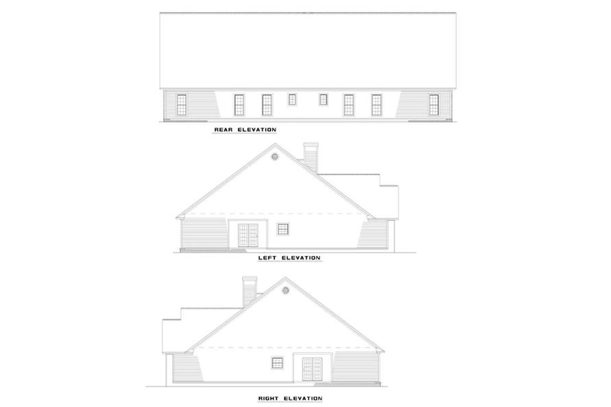 Home Plan Rear Elevation of this 6-Bedroom,2182 Sq Ft Plan -153-1664
