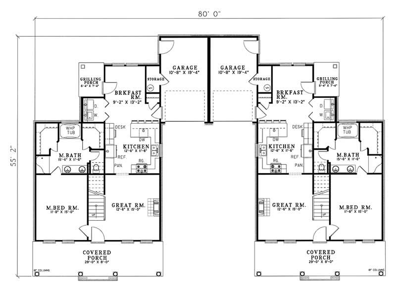 Traditional multi unit house plans home design for Multi unit house plans