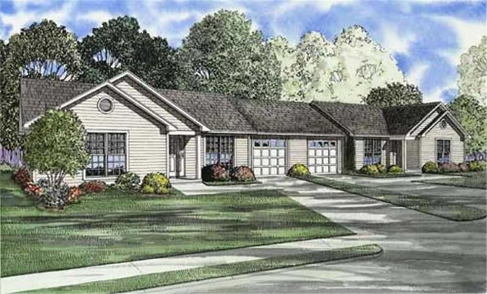 Front elevation of Multi-Unit home (ThePlanCollection: House Plan #153-1666)