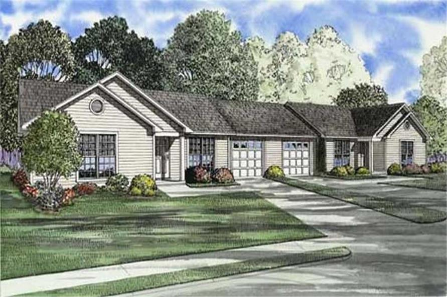 3-Bedroom, 965 Sq Ft Multi-Unit Home Plan - 153-1666 - Main Exterior