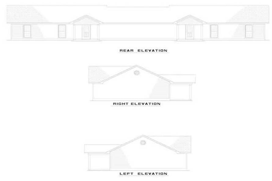 Home Plan Rear Elevation of this 3-Bedroom,965 Sq Ft Plan -153-1666