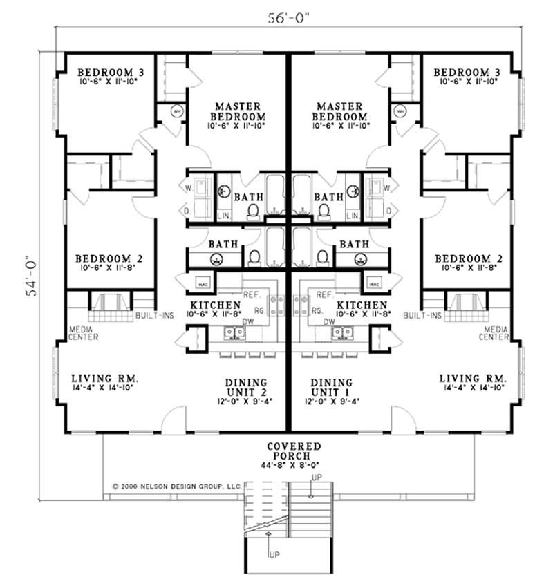 Traditional multi unit house plans home design ndg506 for Multi unit home plans