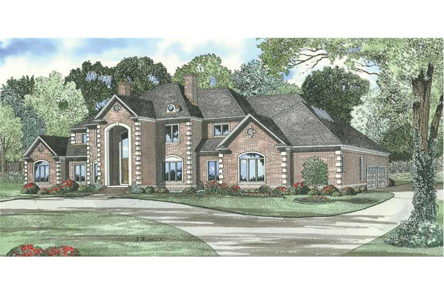 4-Bedroom, 6388 Sq Ft European House Plan - 153-1672 - Front Exterior