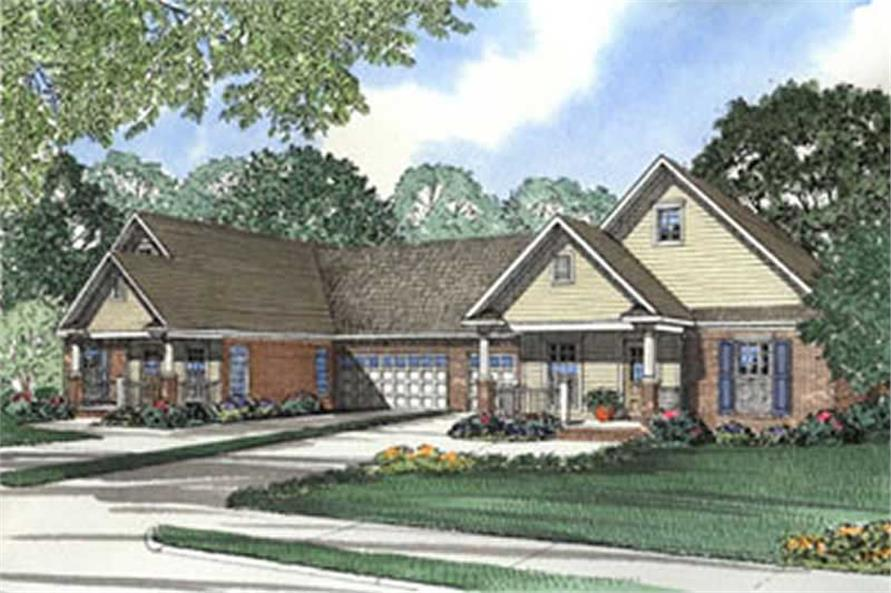 6-Bedroom, 1442 Sq Ft Multi-Unit Home Plan - 153-1674 - Main Exterior