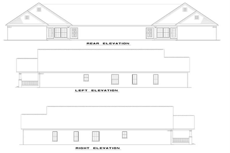 Home Plan Rear Elevation of this 6-Bedroom,1442 Sq Ft Plan -153-1674