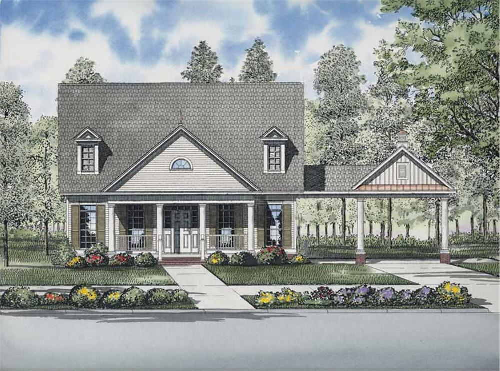 Front elevation of Contemporary home (ThePlanCollection: House Plan #153-1678)