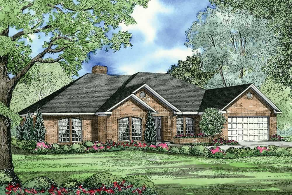 Front elevation of Country home (ThePlanCollection: House Plan #153-1685)