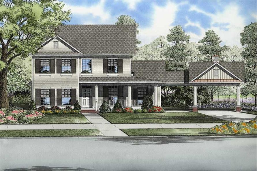 Country, Southern, Colonial House Plans - Home Design NDG-936 # 8225