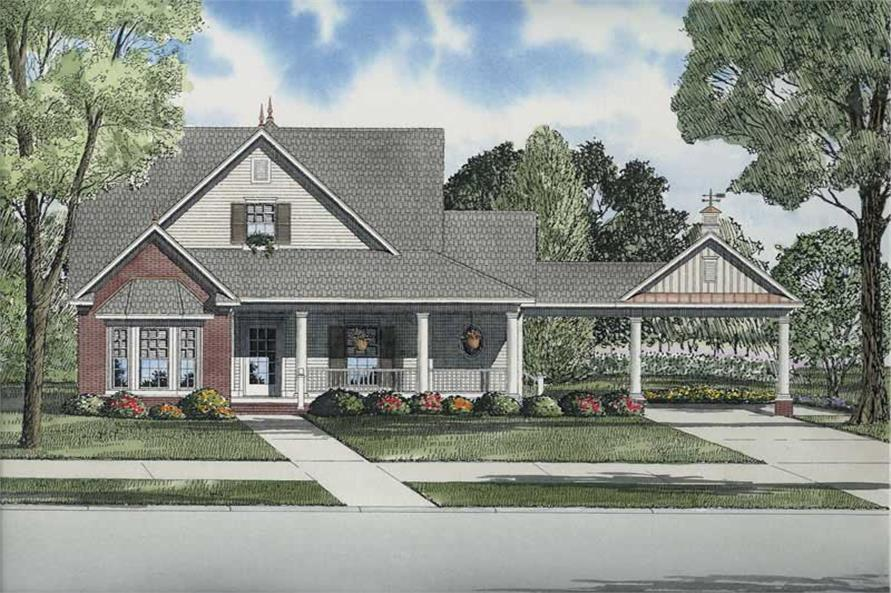 3-Bedroom, 1927 Sq Ft Colonial House Plan - 153-1697 - Front Exterior