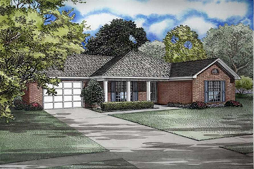 3-Bedroom, 1258 Sq Ft Ranch House Plan - 153-1700 - Front Exterior