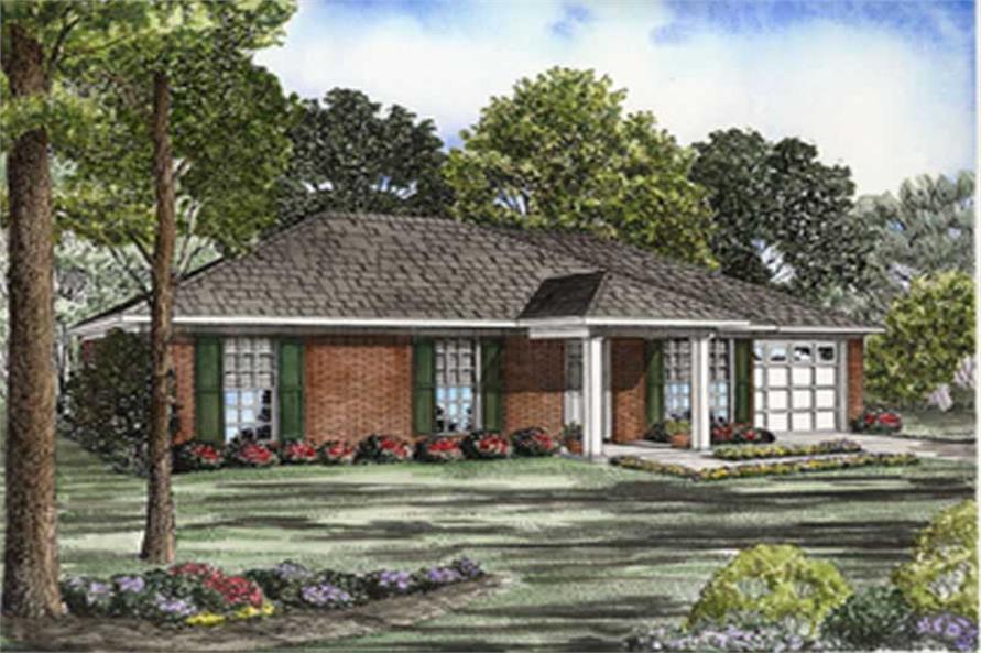 3-Bedroom, 1046 Sq Ft Ranch Home Plan - 153-1701 - Main Exterior