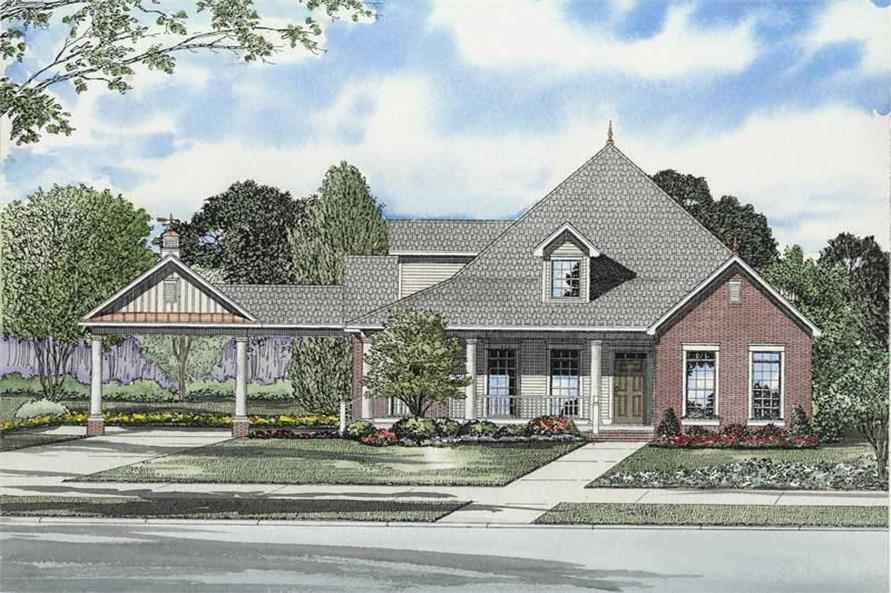 3-Bedroom, 1845 Sq Ft Colonial House Plan - 153-1703 - Front Exterior