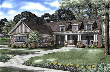 4-Bedroom, 2129 Sq Ft Country Home Plan - 153-1705 - Main Exterior
