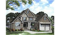 This image shows the front elevation of these charming bungalow house plans.