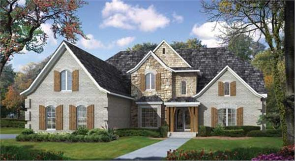 This image shows the front elevation of these great European House Plans.
