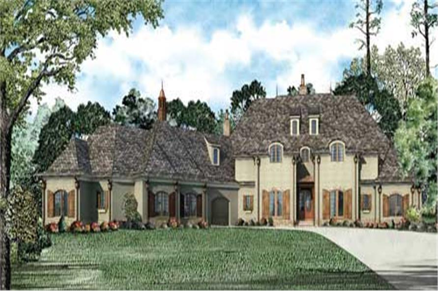 This is a colored rendering of these Luxury Houseplans.