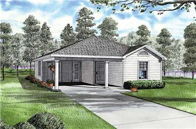 3-Bedroom, 1070 Sq Ft Ranch Home Plan - 153-1717 - Main Exterior