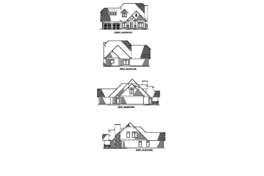 Home Plan Left Elevation of this 3-Bedroom,1952 Sq Ft Plan -153-1720