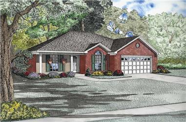 3-Bedroom, 1214 Sq Ft Small House Plans - 153-1721 - Main Exterior