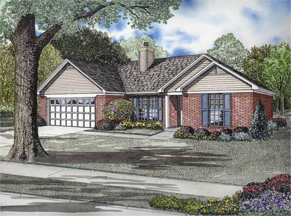 Front elevation of Ranch home (ThePlanCollection: House Plan #153-1725)