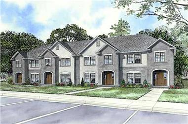 2-Bedroom, 1286 Sq Ft Multi-Unit Home Plan - 153-1727 - Main Exterior