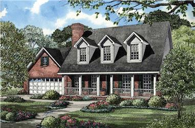 Front elevation of Cape Cod home (ThePlanCollection: House Plan #153-1730)