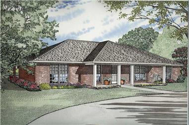 Front elevation of Ranch home (ThePlanCollection: House Plan #153-1732)