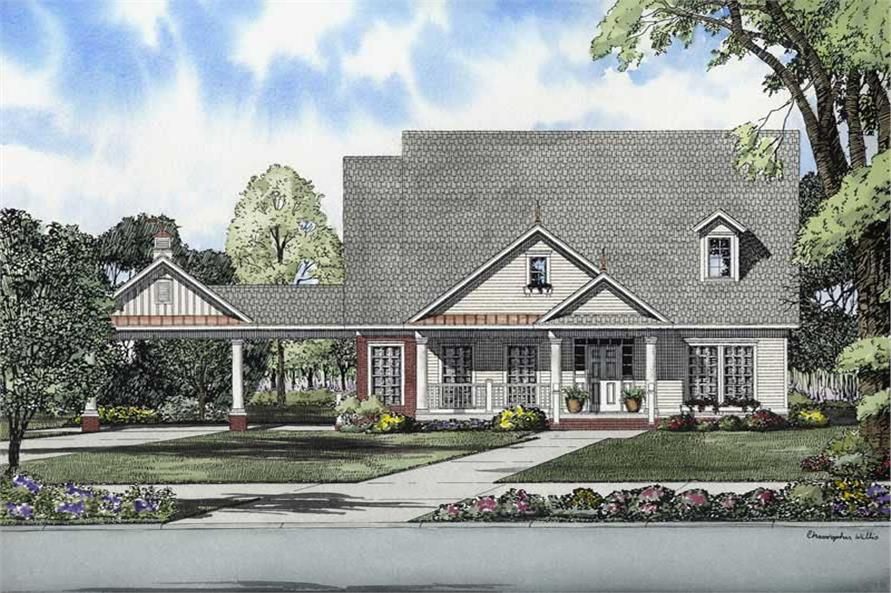 3-Bedroom, 1966 Sq Ft Colonial House Plan - 153-1735 - Front Exterior
