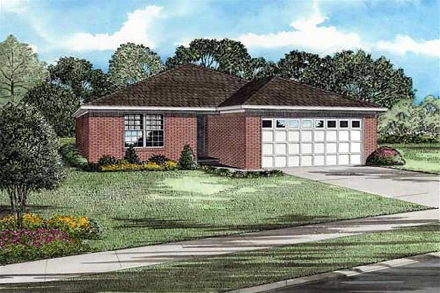 3-Bedroom, 1356 Sq Ft Ranch Home Plan - 153-1736 - Main Exterior