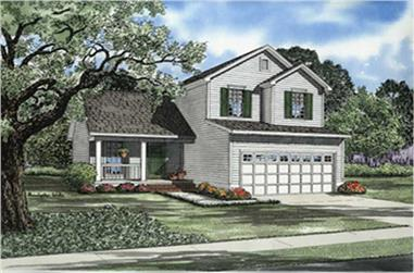 3-Bedroom, 1267 Sq Ft Multi-Level Home Plan - 153-1740 - Main Exterior
