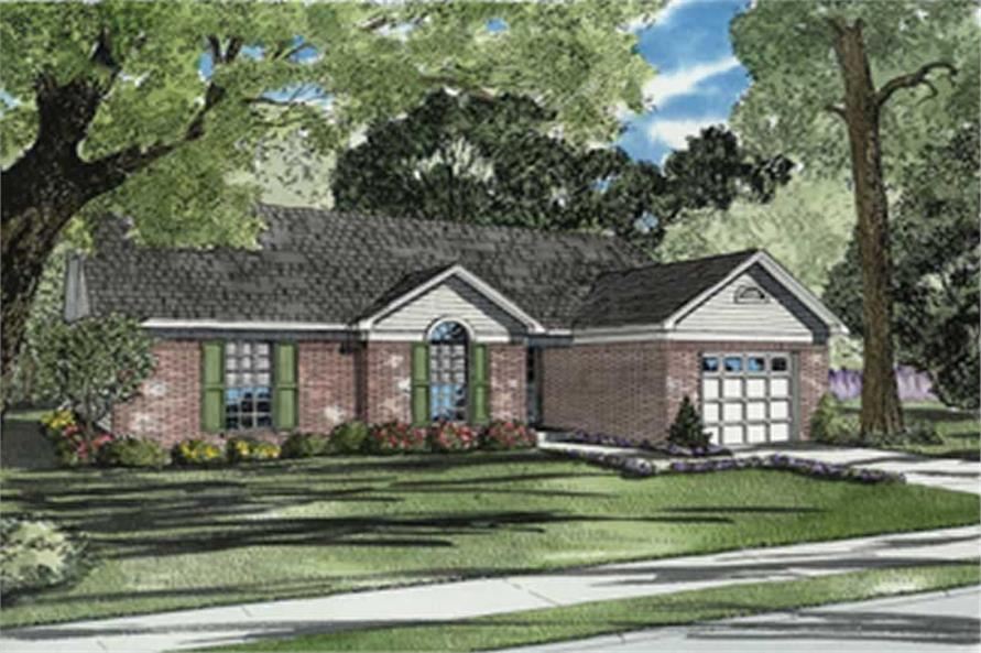 3-Bedroom, 1203 Sq Ft Country Home Plan - 153-1741 - Main Exterior