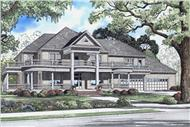 This image shows the front elevation for this set of Southern House Plans.