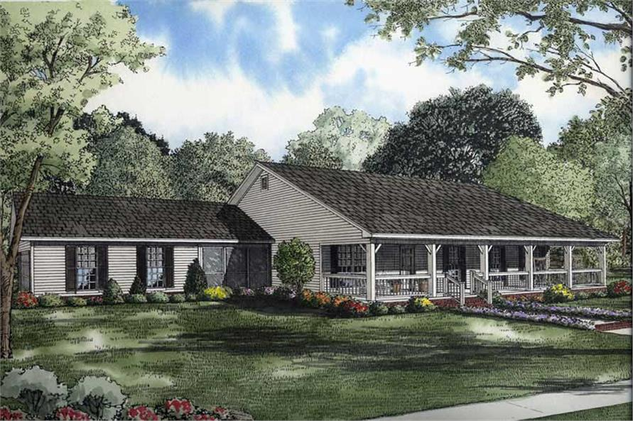 3-Bedroom, 1800 Sq Ft Country Ranch - Plan #153-1744