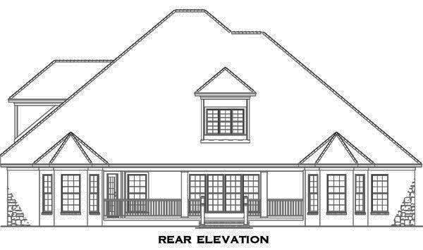 153-1746: Home Plan Rear Elevation